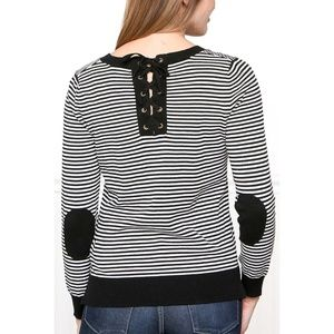 Downeast Black Stripes Laced Back Sweater